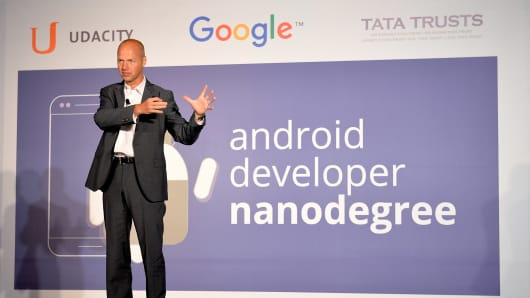 Sebastian Thrun, founder and CEO of Udacity, launches Android Nanodegree in Bangalore, India, in September 2015.