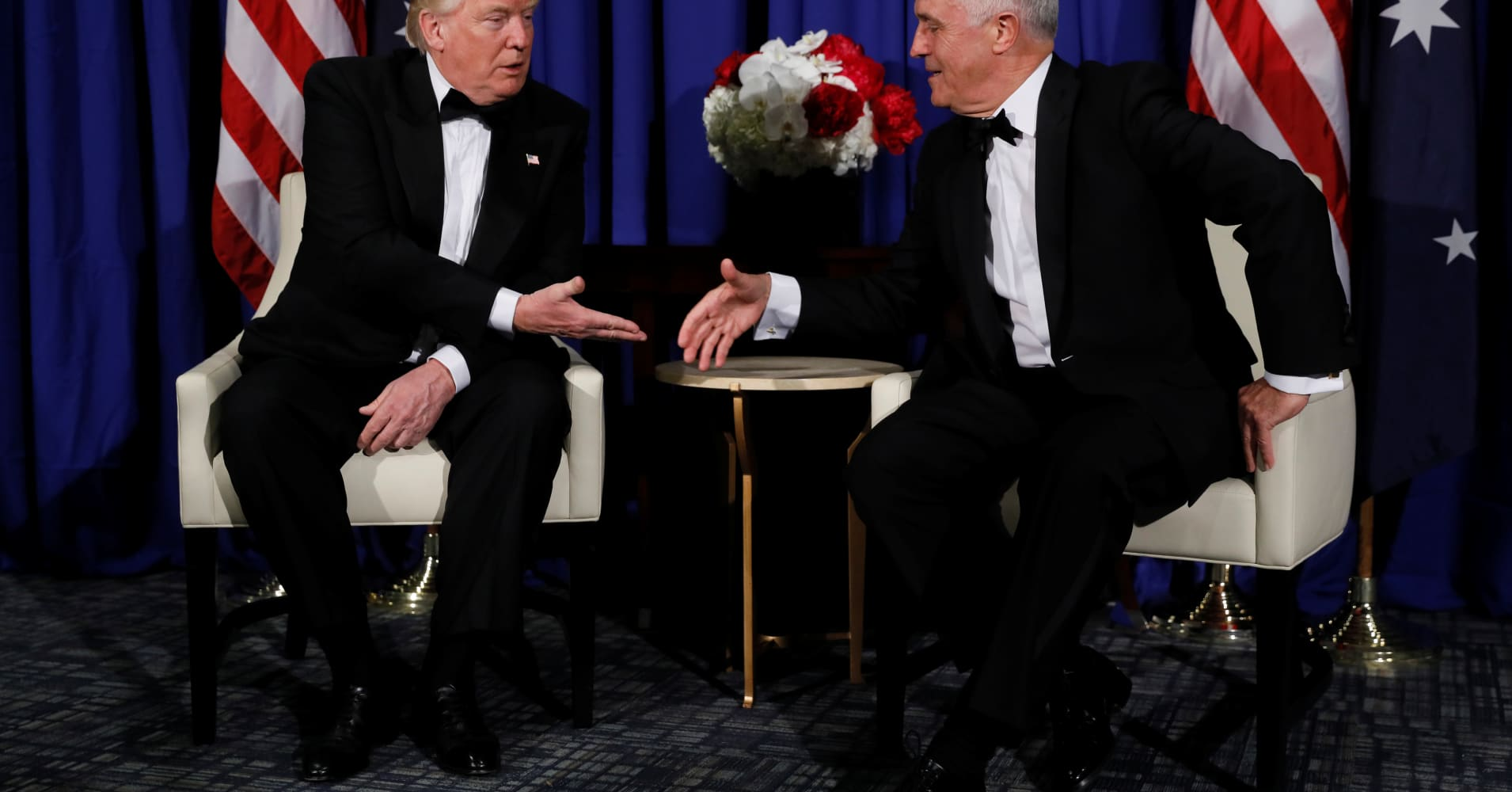 Trump, Australia's Turnbull hold first meeting in move to clear air after tense phone call