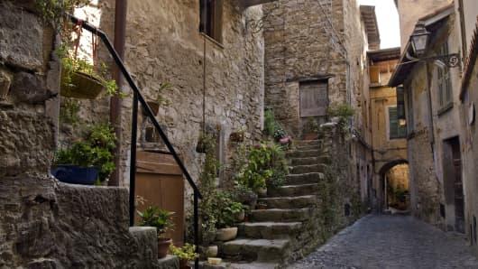 Backyard in a small mountain village in Italy's Liguria region