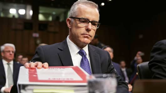 Acting FBI Director Andrew McCabe prepares to testify before the Senate Intelligence Committee in the Hart Senate Office Building on Capitol Hill May 11, 2017 in Washington, DC.