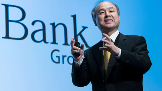 SoftBank Group Corp. Chairman and Chief Executive Officer Masayoshi Son speaks during a press conference on May 10, 2017 in Tokyo, Japan.