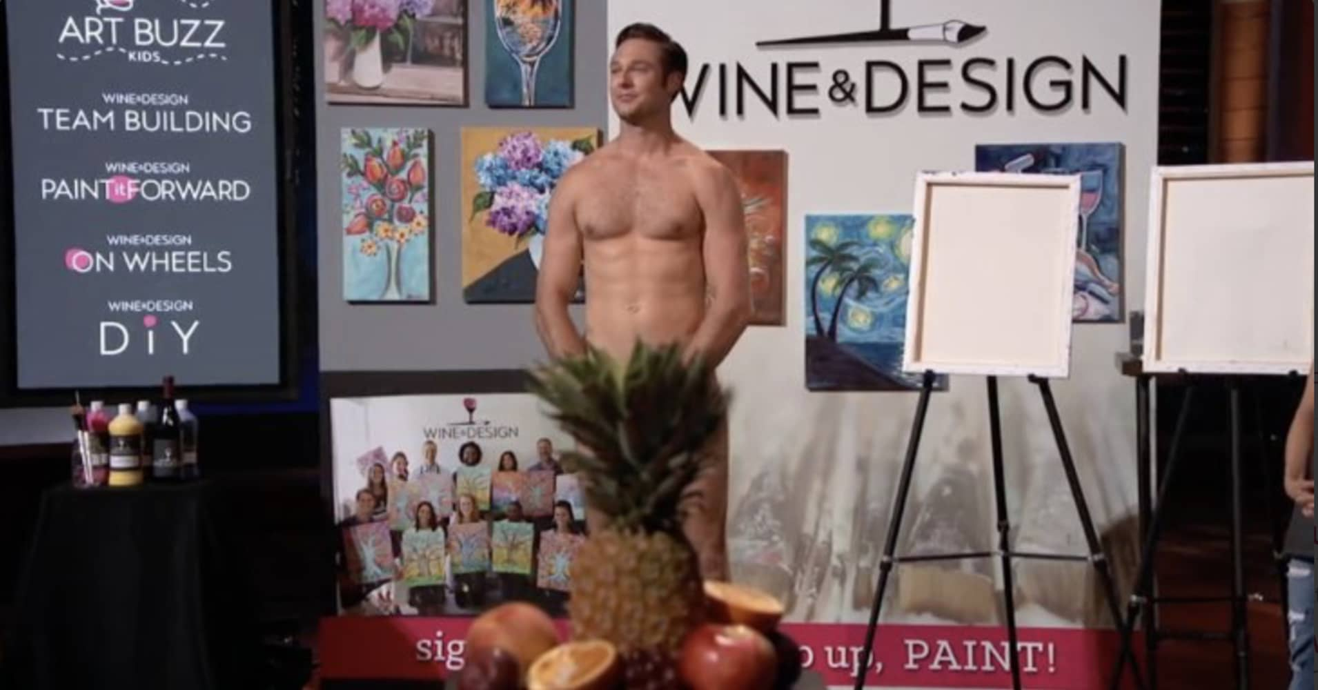 "Wine & Design brought a nude model on for their ""Shark Tank"" pitch."