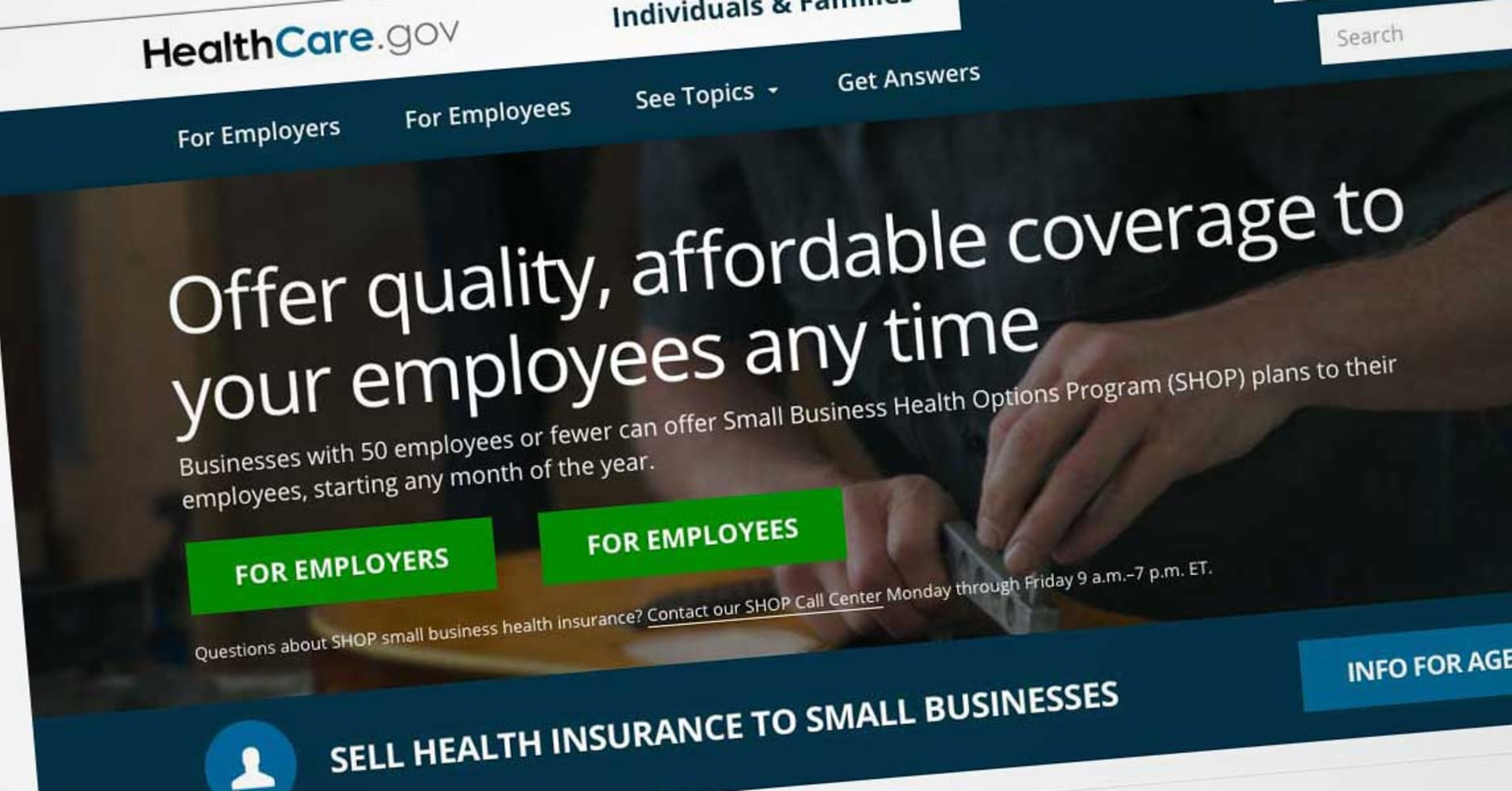 Trump administration seeks to end Obamacare enrollment for small businesses on HealthCare.gov