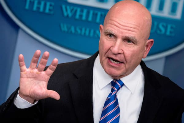 National Security Advisor H. R. McMaster speaks during a briefing at the White House.
