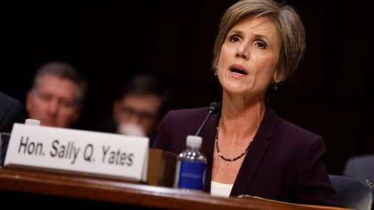 Former Acting Attorney General Sally Yates testifies about potential Russian interference in the presidential election before the Senate Judiciary Committee on Capitol Hill, Washington, D.C., U.S. May 8, 2017.