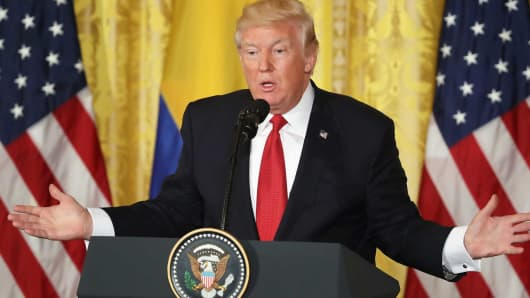 President Donald Trump delivers remarks during a joint news conference with Colombian President Juan Manuel Santos at the White House May 18, 2017 in Washington, DC.