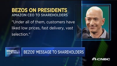 Bezos tells Amazon shareholders 'we can't rest on our laurels'