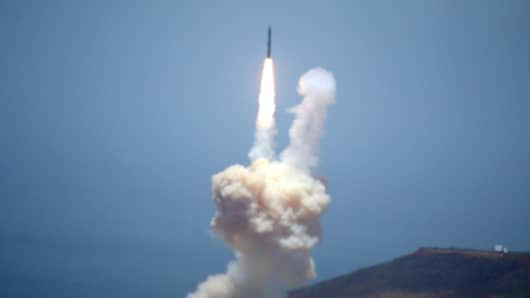 The Ground-based Midcourse Defense element of the U.S. ballistic missile defense system launches during a flight test from Vandenberg Air Force Base, California, U.S., May 30, 2017.