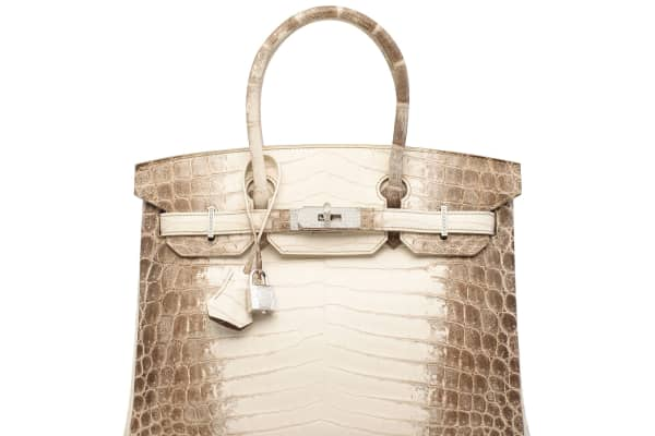 Hermès matte white Himalaya Niloticus crocodile diamond Birkin sold for more than $379,000 at Christie's in Hong Kong