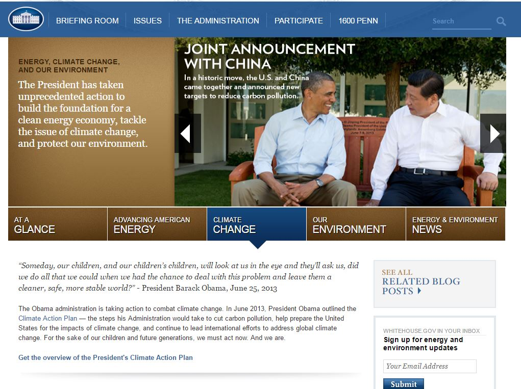 Climate Change White House website