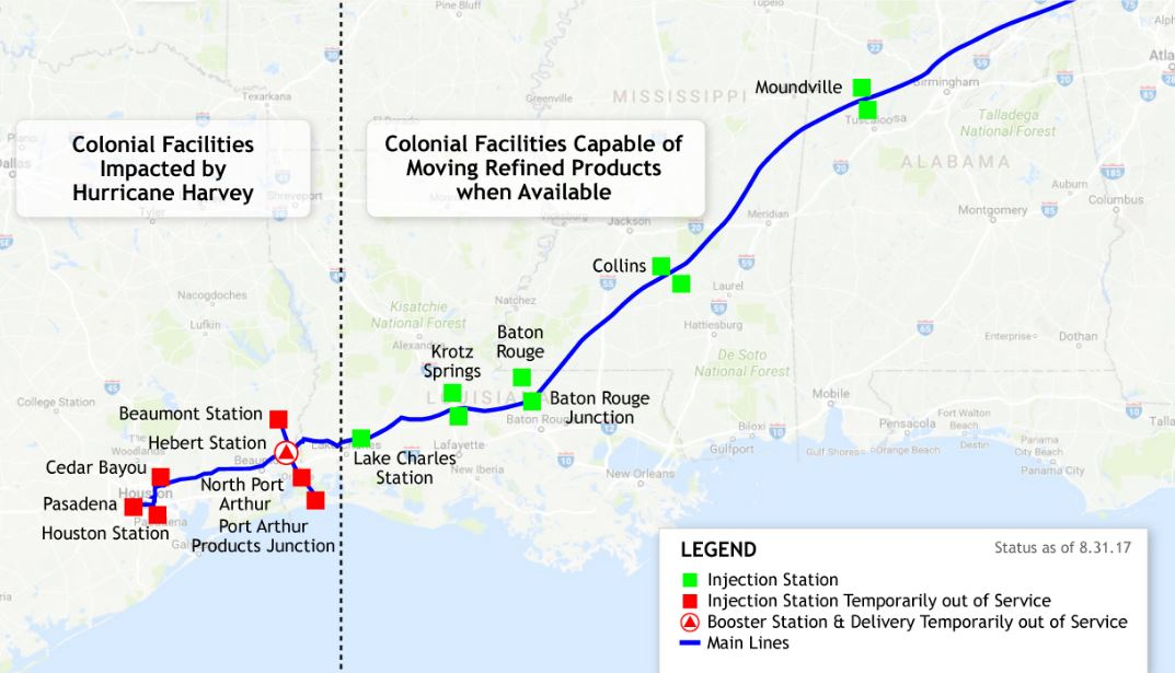 Gulf Coast Struggles To Get Gasoline Flowing As Refineries Remain Shut - Gasoline-pipeline-map-us