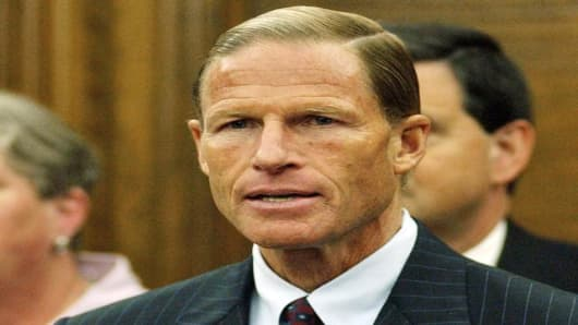 State Attorney General Richard Blumenthal holds a press conference in his office to announce plans to file a lawsuit against the U.S. Department of Education over the federal No Child Left Behind Act in Hartford, Conn., Monday August 22, 2005. (AP Photo/Jessica Hill)
