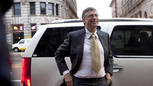 In this Nov. 21, 2011 photo, Bill Gates arrives  to testify at the Frank E. Moss federal courthouse.