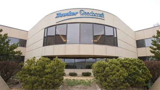 This Feb. 7 2012 photo shows the Hawker Beechcraft headquarters in Wichita, Kan. The aircraft maker filed for bankruptcy protection Thursday, May 3, 2012 after reaching agreement with the majority of its secured lenders and bondholders to restructure its massive debt. (AP Photo/The Wichita Eagle/Kansas.com, Fernando Salazar)
