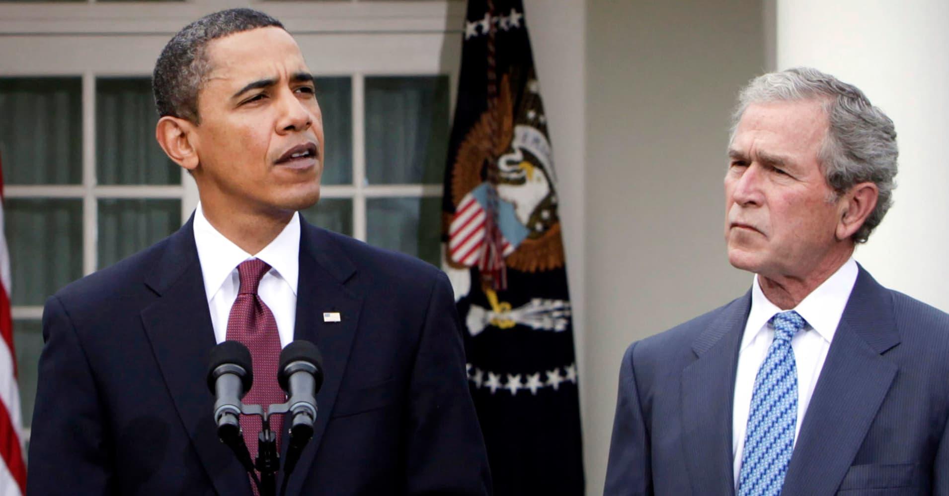 Obama and Bush also pressed NATO allies to spend more on defense