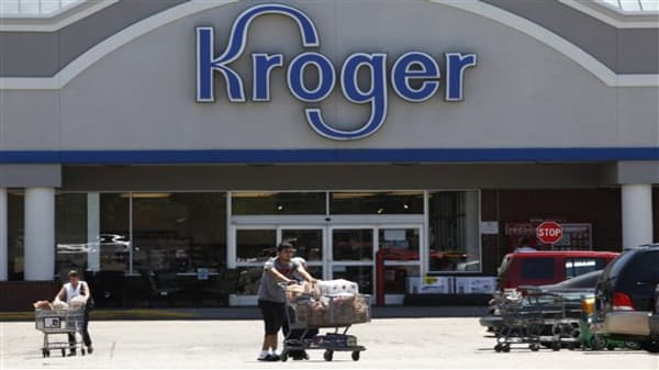 This Tuesday, June 12, 2012, photo shows a Kroger grocery store in Dearborn, Mich. The Kroger Co. said Thursday, June 14, 2012, its net income edged up slightly in the first quarter as its customer loyalty programs helped drive up revenue. The company also raised its full-year earnings outlook. (AP Photo/Paul Sancya)