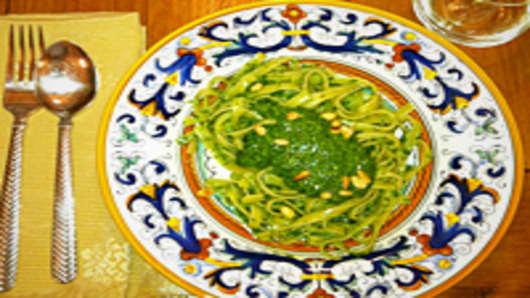 Spinach Pesto over Linguine