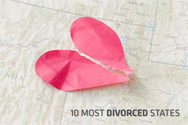 In 2010, a study by the National Vital Statistics Report and the U.S. Census Bureau was released. It calculated the number of divorces by state, and it found that married couples in Massachusetts stayed together the most, with only 1.8 marriages dissolved for every 1,000 people.As for the states whose rates of divorce were the highest, some of the results might be surprising. Many are in areas of the country traditionally believed to be socially conservative. However, a closer look at the data s