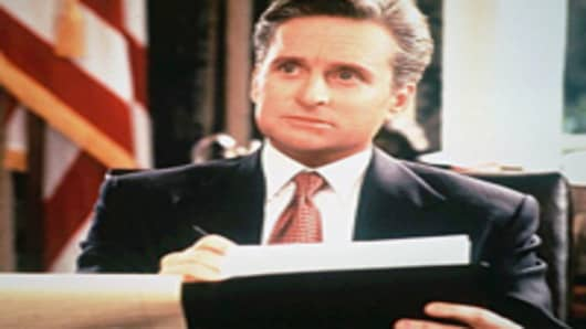 """Michael Douglas as President Andrew Shepherd in scene from movie """"The American President""""."""