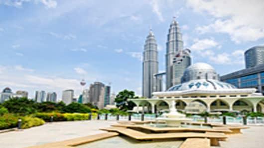 Petronas Towers and Masjid Al-syakirin mosque in Malaysia