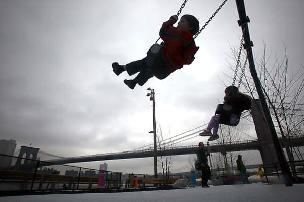 Most parents who take their children to the playground know the drill. Before putting their kids into a swing, they touch it first, to make sure that the seat, which has been sitting in the sun all day, isn't too hot to plop Junior into. However, the designers of the playground at Pier One in New York's Brooklyn Bridge Park managed to overlook this principle when they designed three play structures for children to climb on, and built them out of steel.The domed structures regularly became too ho