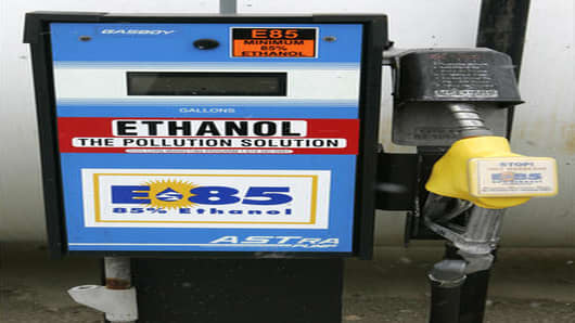 ** FILE**  In a file photo an E85 fuel pump is shown Friday, March 3, 2006, at the Ohio Department of Agriculture in Columbus, Ohio. The fuel consists of 85 percent ethanol and 15 percent petroleum.  After a spurt of good fortune, the fledgling U.S. ethanol industry is anticipating some growing pains that could bring it unwanted attention this summer.   (AP Photo/Kiichiro Sato)