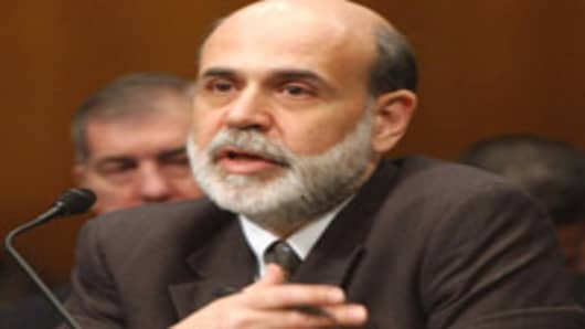 Federal Reserve Board Chairman Ben Bernanke testifies on Capitol Hill in Washington, Wednesday, Feb. 14, 2007, before the Senate Banking Committee hearing on monetary policy. (AP Photo/Dennis Cook)