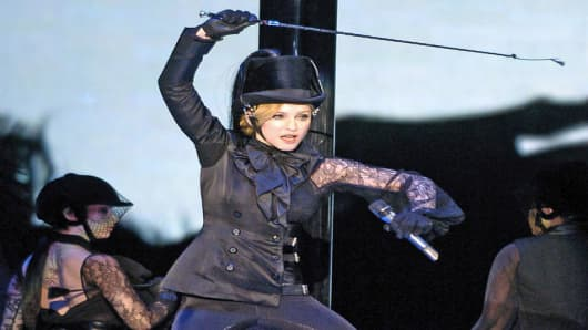 Madonna performs during her concert at the Great Western Forum in Inglewood, Calif.., Sunday, May 21, 2006. The concert marked the kick-off of the North American leg of her Confessions tour. (AP Photo/Chris Pizzello)