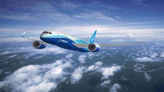 "In this hand hout computer-generated image provided by Boeing shows the company's new series Boeing 787 Dreamliner, Wednesday, April; 27, 2005.  A senior Boeing Co. official on Wednesday brushed off the threat of European rival Airbus SAS's ""superjumbo,"" saying orders for Boeing's smaller, more fuel-efficient Dreamliner were robust. (AP Photo/Boeing) ** EDITORIAL USE ONLY **"
