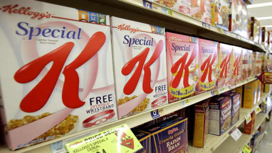 Boxes of Kellogg's Special K cerealon a supermarket shelf.