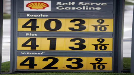 High gas prices are posted at a Shell gas station in San Mateo, Calif., Tuesday, May 15, 2007. Most Americans are locked in to their driving habits, and can do little to alter them when prices rise, experts say. Indeed, demand for gasoline rose over the last month, even though prices were rising toward record highs. At the same time, refineries have experienced more downtime this spring than in years past, cutting the gasoline supply. The combination of low supplies and high demand is what's sen