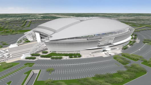 An artist rendering of the Dallas Cowboy's new stadium being built in Arlington, Texas. The new stadium will host the Super Bowl in 2011.