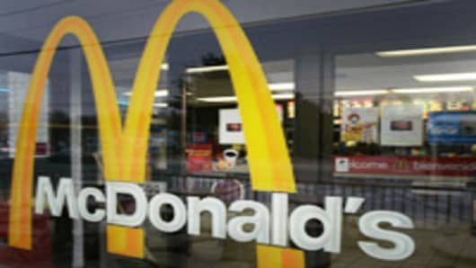 A McDonalds sign welcomes patrons into the restaurant in Wilmington, Del., Wednesday, Jan. 24, 2007. McDonald's Corp., the world's largest fast-food chain, says its fourth-quarter profit more than doubled, thanks in large part to the spinoff of a burrito chain and strong sales in Europe. (AP Photo/Chris Gardner)