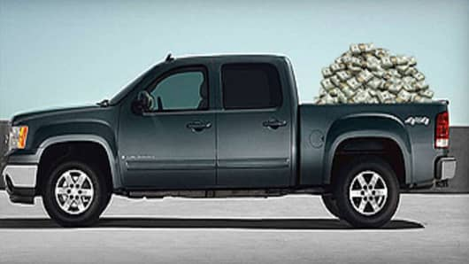 GM Pickup Truck with money
