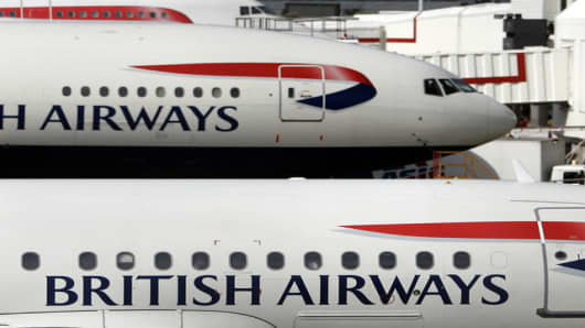 British Airways planes parked at Heathrow Airport.