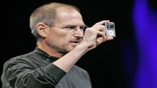 Steve Jobs showing the new iPod Nano