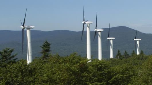 Wind turbines generate power at the Searsburg Wind Power Facility in Searsburg, Vt. Thursday, July 21, 2005. Two ridge lines in the southern Green Mountain National Forest soon could sprout 370-foot tall wind power generators, if the U.S. Forest Service approves what would be the first wind energy project on its lands anywhere in the country. A company called Deerfield Wind LLC has proposed up to 30 of the towers in a special-use application to the Forest Service. The review is expected to take