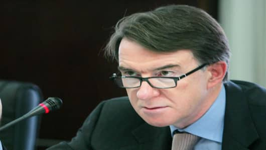 EU Trade Commissioner Peter Mandelson (AP Photo/Elizabeth Dalziel)