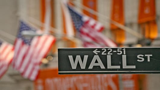 A Wall Street sign is shown in front of the New York Stock Exchange, Wednesday, Feb. 28, 2007 in New York. The Dow fell 416.02 points, or 3.29 percent, to 12,216.24 on Tuesday. (AP Photo/Mark Lennihan)