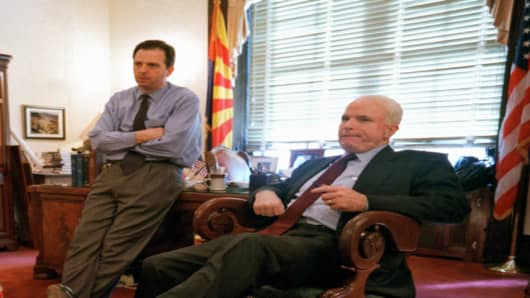 John McCain and his political advisor John Weaver (left).