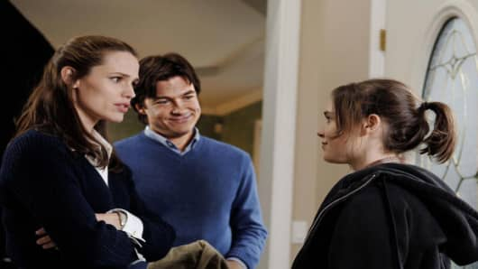 "Jennifer Garner, left, Jason Bateman, center, and Ellen Page during a scene from ""Juno."""