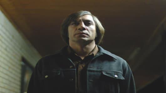 "Javier Bardem as Anton Chigurh in a scene from ""No Country for Old Men."""