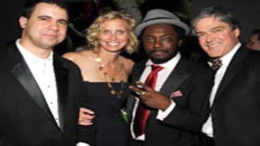 From left: Obama press secretary Bill Burton, Laura Capps, will.i.am, John Harwood