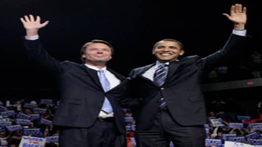 Barack Obama, as US Senator of Illinois and Presidential candidate, with former Democratic presidential hopeful John Edwards (r-l), at rally, Grand Rapids, Michigan.