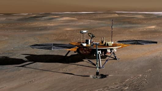 This artist's rendering provided by NASA shows the lander dubbed Phoenix Mars. (AP Photo/NASA)