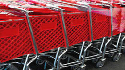 Red shopping Carts in a row.