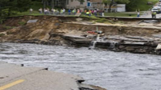 Washed-out road that caused Lake Delton to empty, Wisconsin.
