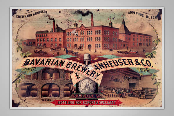 This particular tin is one of the oldest pieces of memorabilia that Anheuser-Busch has in its company's archives. The tin still has the company's original name - The Bavarian Brewery. The name was changed by 1880 to what we know it as today - Anheuser-Busch.