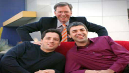 Google CEO Eric Schmidt, top, and co-founders Sergey Brin, left, and Larry Page are seen at company headquarters in Mountain View, CA.