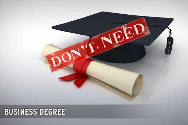 A business degree (particularly an MBA) may be just want you need to land that big job at a Fortune 100, but it's the last thing you need to launch your own company.  After all, YOU are the boss.  You don't even need to wear your best suit, and have a pretty resume to get a job working for your own company.Instead, running your own business (no matter how big or small) will be a constant source of new experiences and new knowledge.  There is truly no better way to learning than just DOING IT!  N